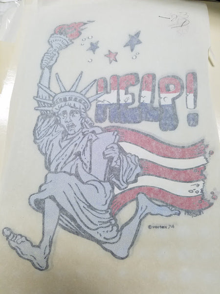 "Vintage Liberty ""HELP!"" Iron-on Transfer"