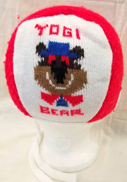 Vintage Red and White Yogi Bear Beanie Winter Hat