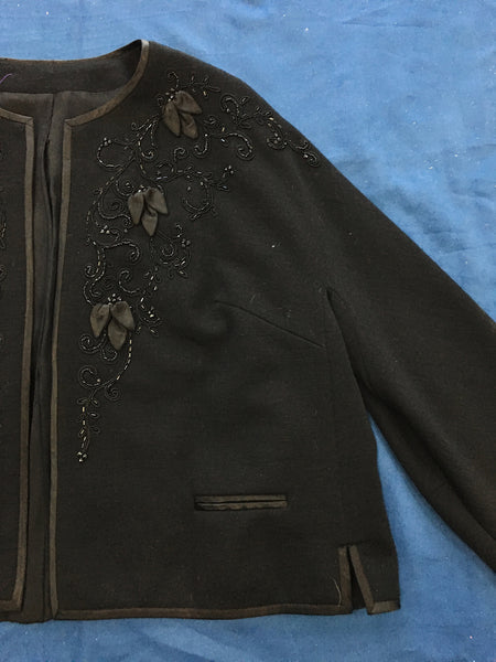 1950's Crestmoor Black Beaded Sweater/Jacket