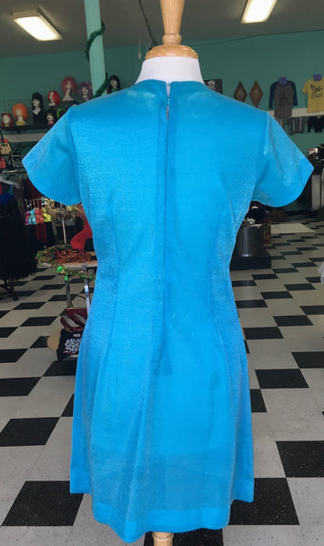 No Label Shiny Semi-Sheer Baby Blue with White Beading Mini Dress AS IS