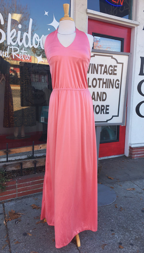 Handmade 1970's Pink Halter Maxi Dress with Plunging Neckline