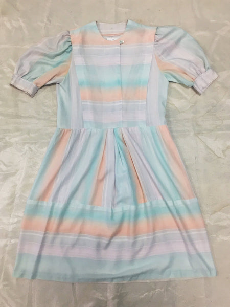 Handmade 1980's Pastel Striped Short Sleeved Dress with Pockets