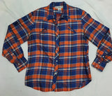 Gloria Vanderbilt Juniors Orange/Navy Silk Plaid Western Blouse