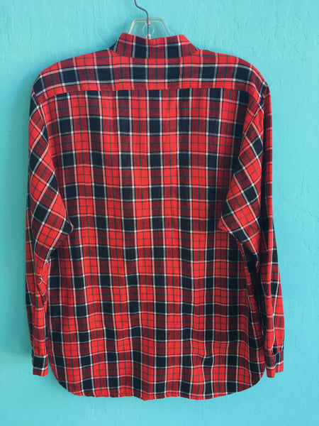 Charmin Red Plaid Buttonup with Band Collar and Pocket Details