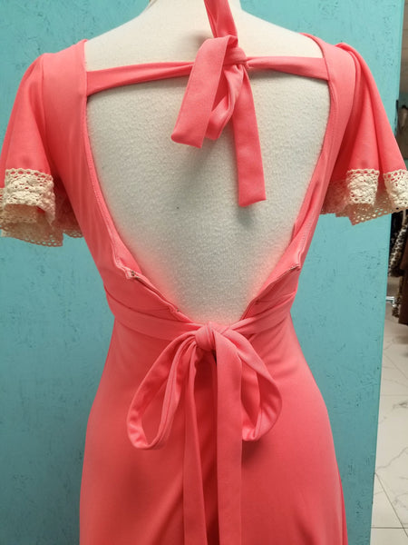 Coral 1970's Maxi Dress With Butterfly Sleeves & Lace Trim