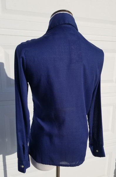 1970's Navy Blue Button Up Long Sleeve Top