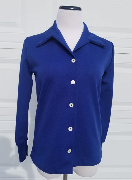Blue Poly L/S Blouse 1970's Mainliner Brand NOS