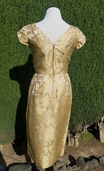 Gold Floral 60's Sheath Dress With Bow Detail