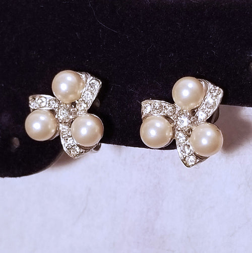 Rhinestone and Faux Pearl Clip On Earrings