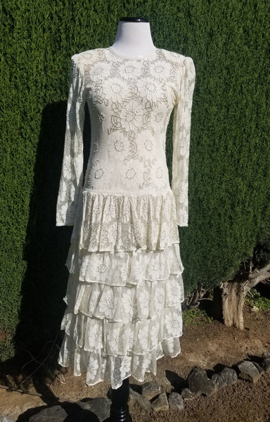 Ivory Silver Sparkle Lace Floral Tiered Gown