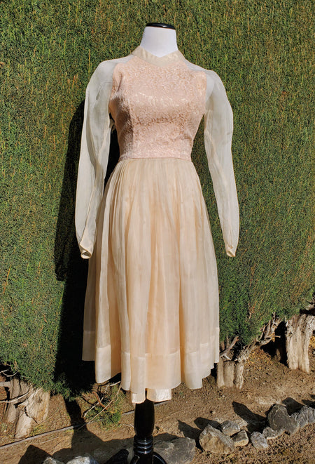 1960's Power Blue Herman Marcus Dress with Lace Roses Trim