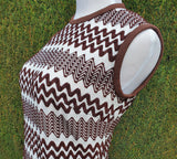 Mod 1960's Brown/White Zig Zag Vintage Checkaberry Dress