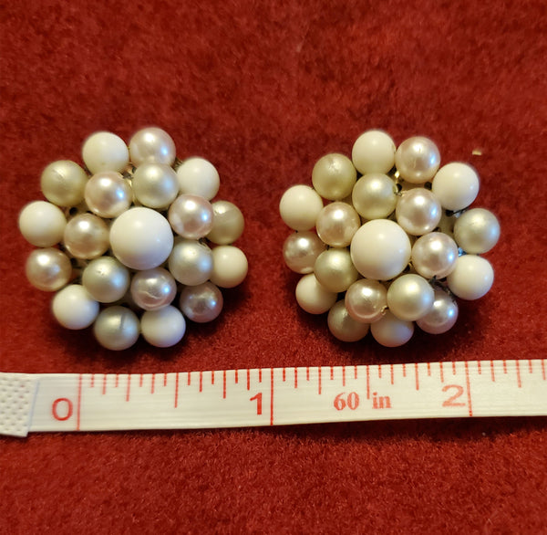 White Beaded Circle Clip on Earrings