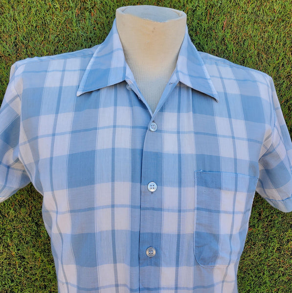 50's 60's Thomas Hobbs Plaid S/S Shirt Med