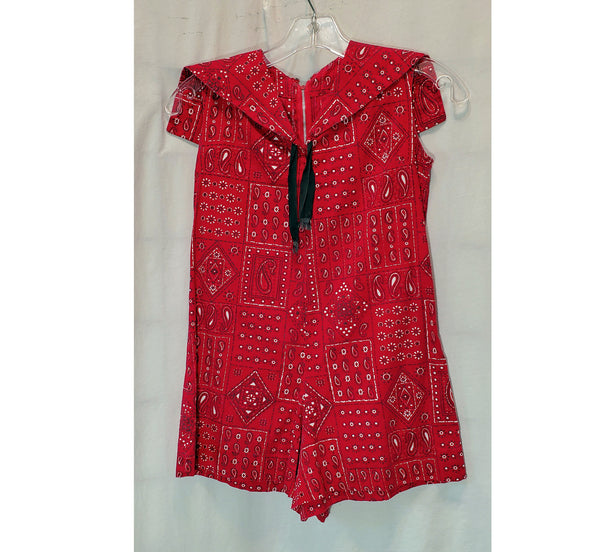 60's/70's Kids Red Patchwork Handmade Print Romper/Jumper