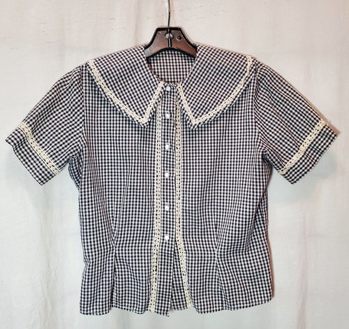 Gingham 1950's Vintage Blouse With Floral Lace Detail/Trim AS-IS