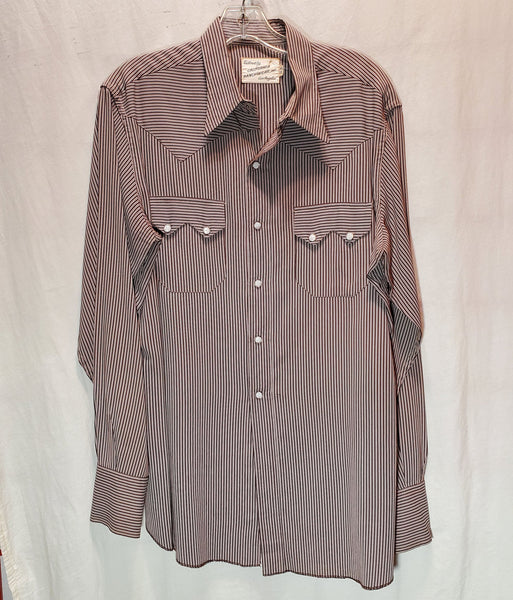 50's California Ranchwear Brown Striped Long Sleeve Western Shirt