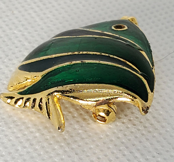 Green Striped Fish Pin Brooch