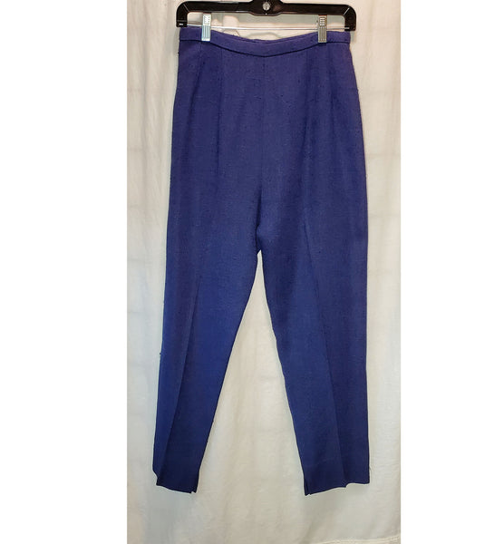Navy Blue I. Magnin Tweed High Waisted Vintage Cigarette Pants