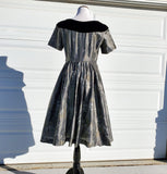 Silver Fit and Flare 50's Dress With Butterfly Print Handmade Volup