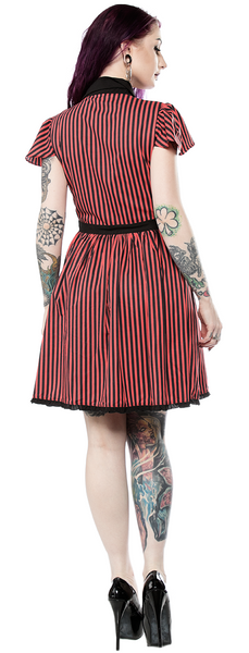 Red and Black Striped Lydia Dress