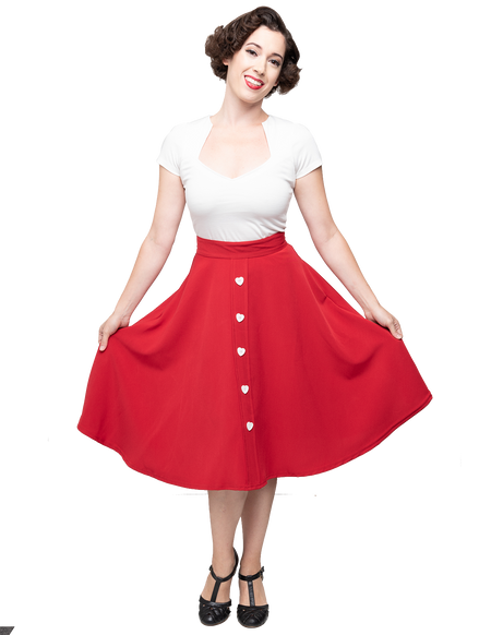 High Waisted Thrills Skirt - Red