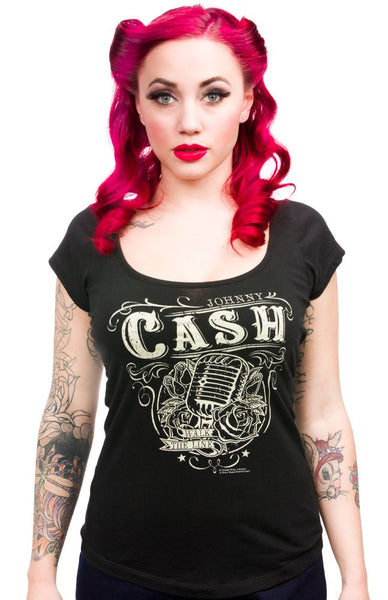 Johnny Cash Walk the Line Scoop Neck Top