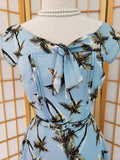 Light Blue Palm Tree Print Havilland Dress