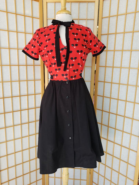 1980's Victor Costa Black Yellow Polka Dot Strapless Dress With Bow