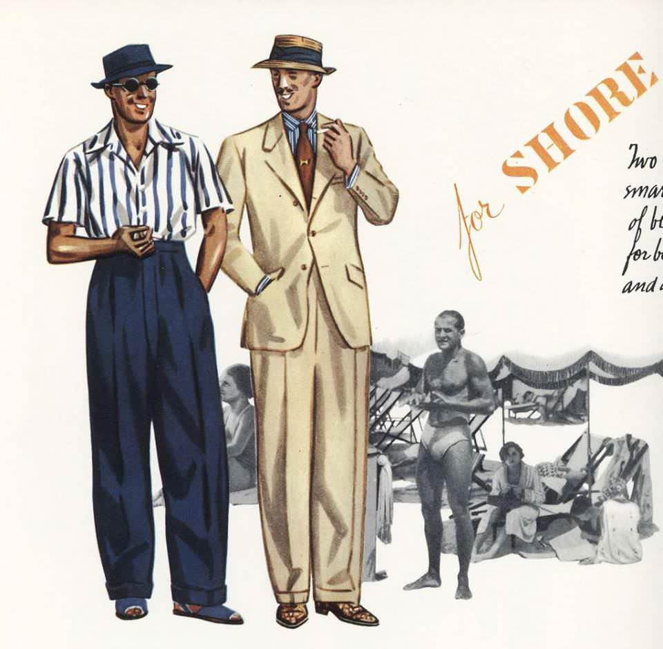 Old advertisement showing pointed flat-collared shirts from the 1930s