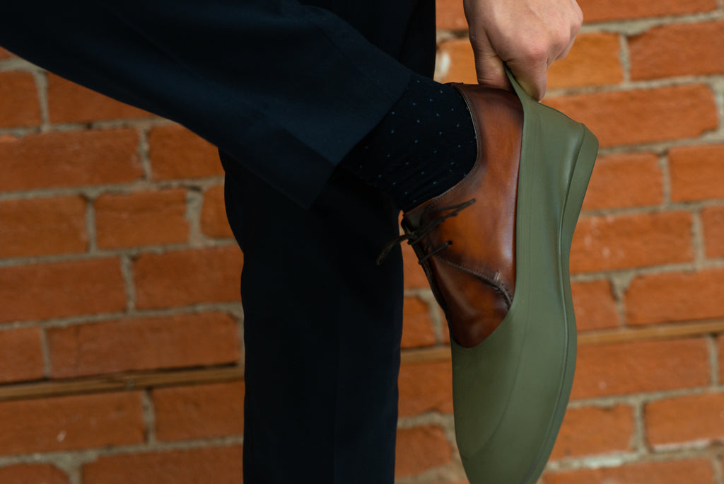 Putting on Swims galoshes - how to care for dress shoes