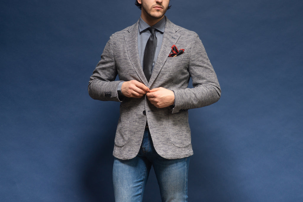 Casual look with a tie - LBM 1911 sport jacket with jeans, sport shirt, and dark tie