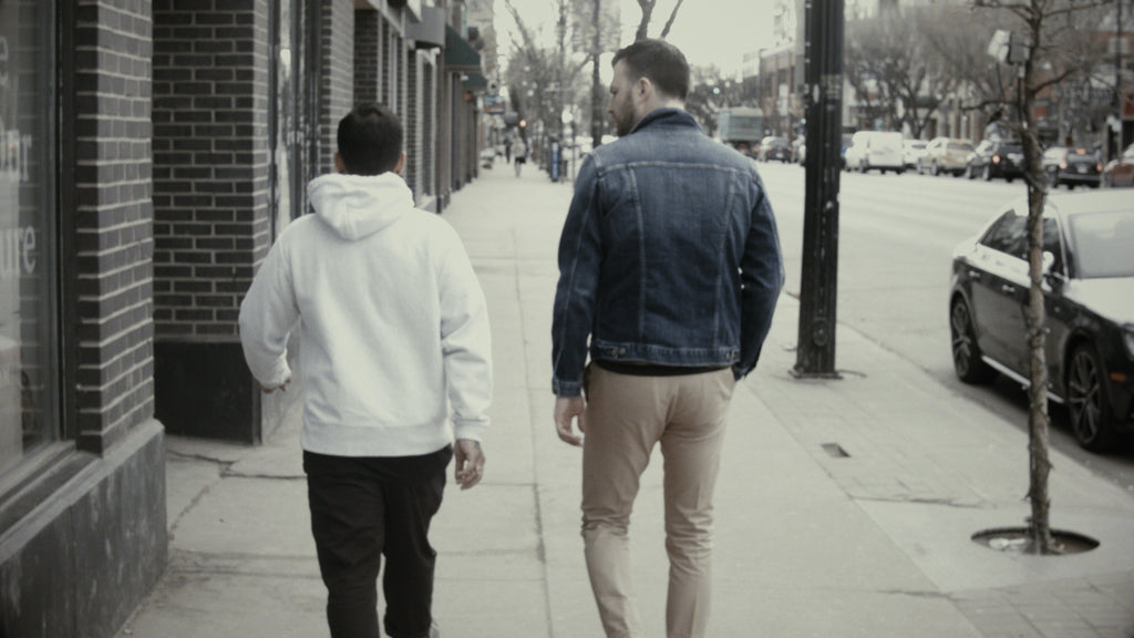 Justin Der and Chad Helm walking down Whyte Ave