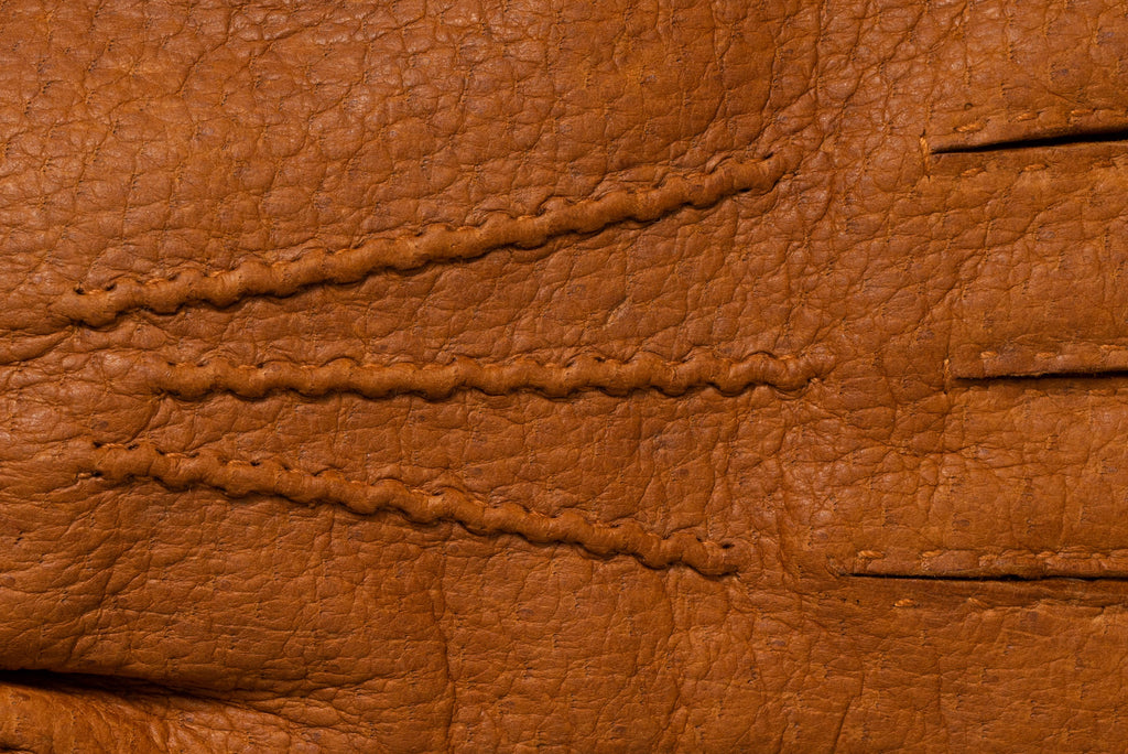 Closeup details of peccary leather gloves