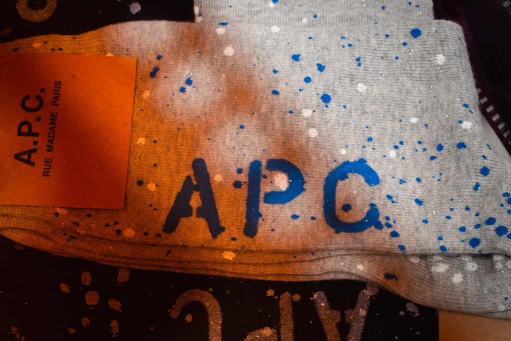 A.P.C. paint splatter socks