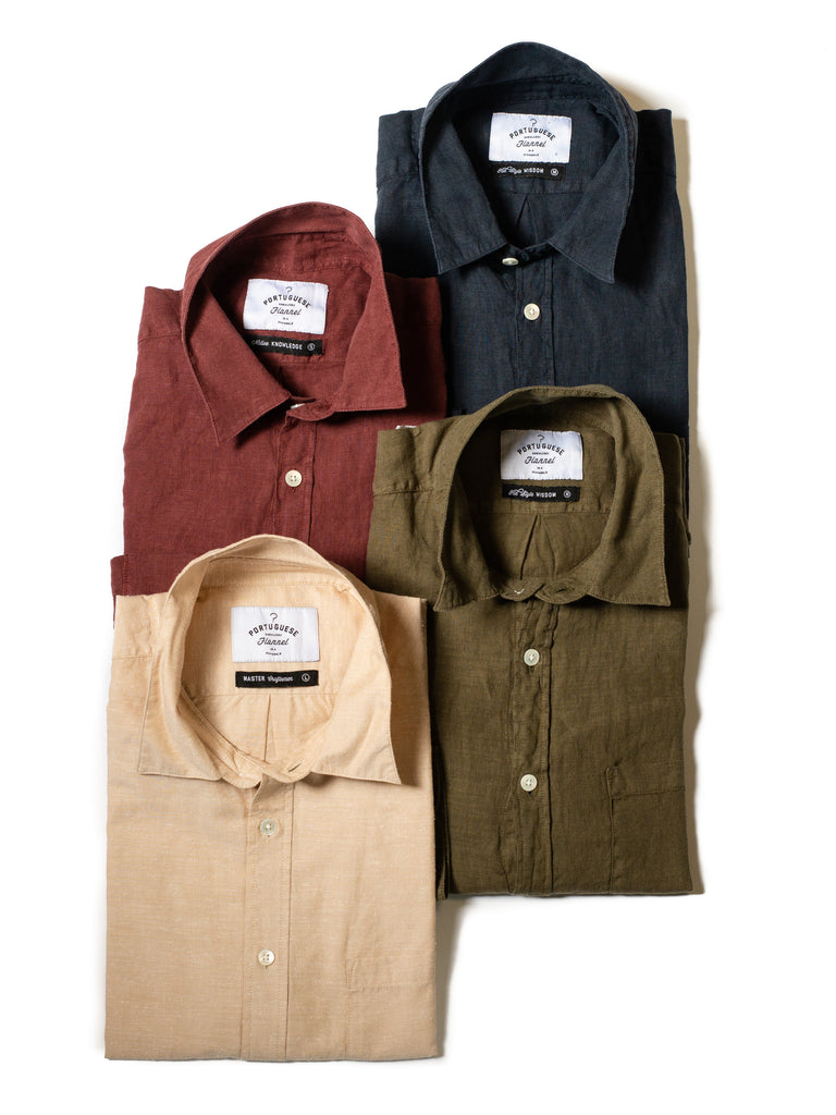4 portuguese flannel shirts - brick red, navy, tan, and olive