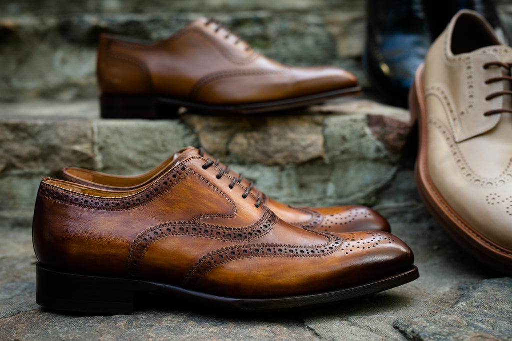 Brogue wingtip shoes from the side