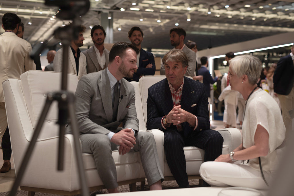 Chad Helm and Brunello Cucinelli talking at Pitti Uomo