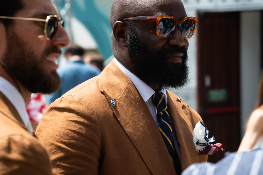 Pitti Uomo 96, 2019, street style, tobacco jacket with navy tie