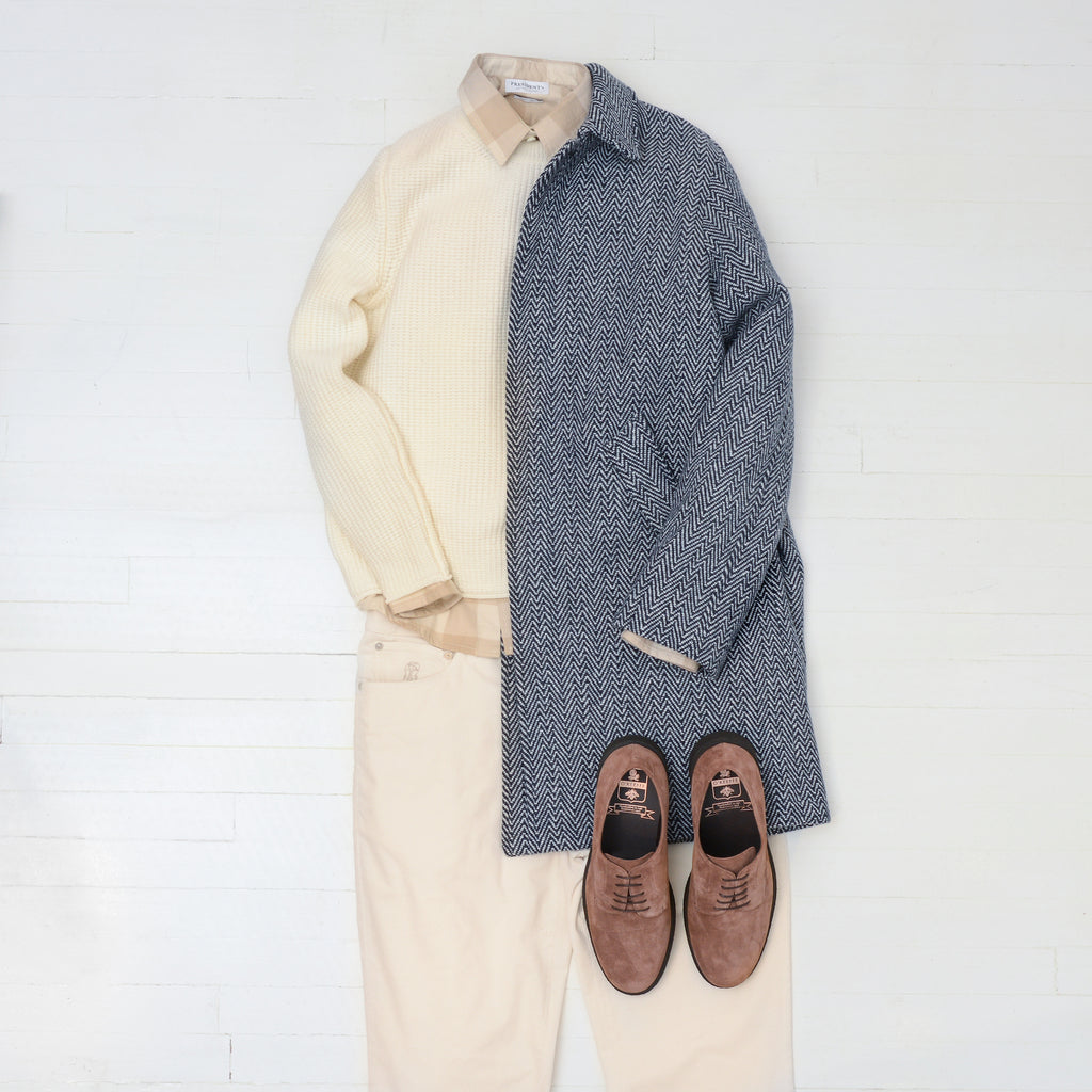 Wear white: Brunello Cucinelli white corduroy trousers, APC Ivan herringbone overcoat, Phil petter white sweater, president's white crew neck sweater