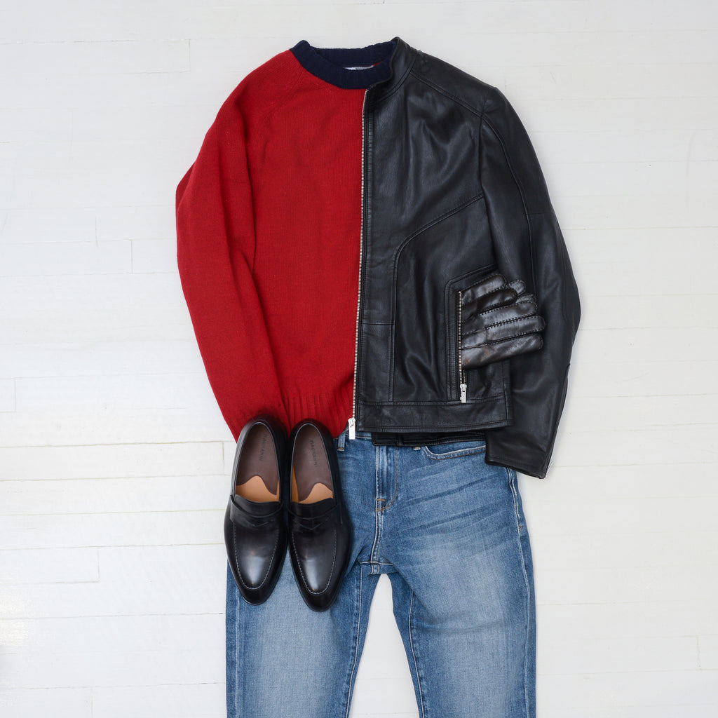 Get noticed in red: Red president's sweater with black leather Hugo jacket, Magnanni rolly loafers, and APC blue jeans