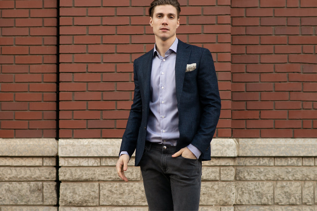 Grey FRAME jeans, check sport shirt, and navy Pal Zileri sport jacket
