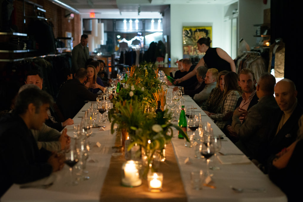 Long table Brunello Cucinelli dinner at the Helm