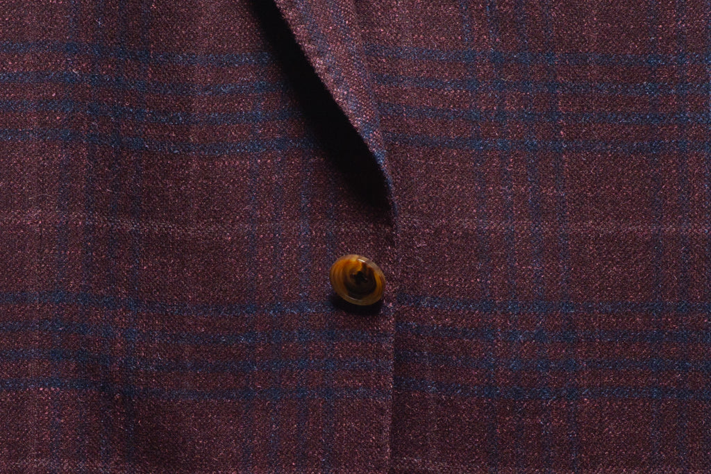 ermenegildo zegna plum wool/cashmere/silk fabric close up