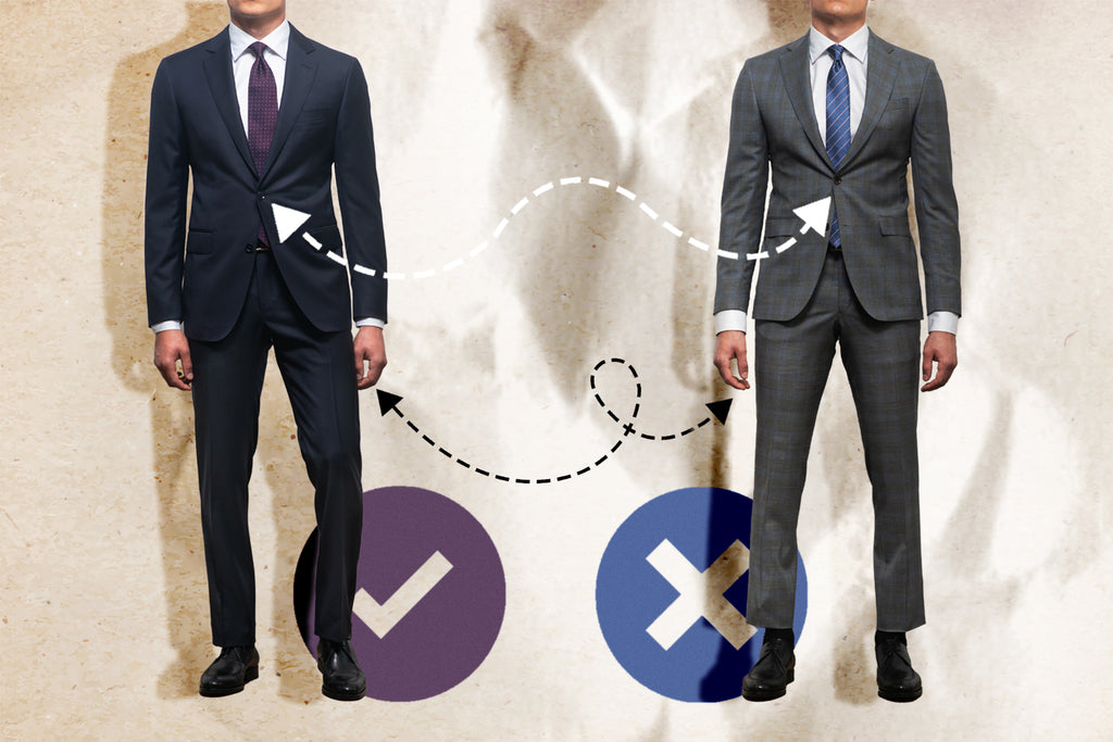 How to tell you're in a poor-fitting suit - A suit that fits properly on the left and a suit that is too tight on the right