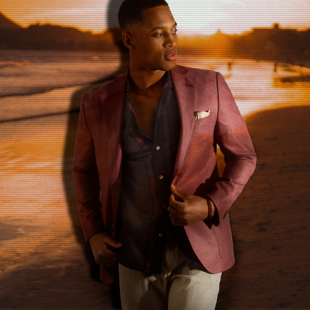 Miami date night look - camp collar shirt worn under berry toned sport jacket