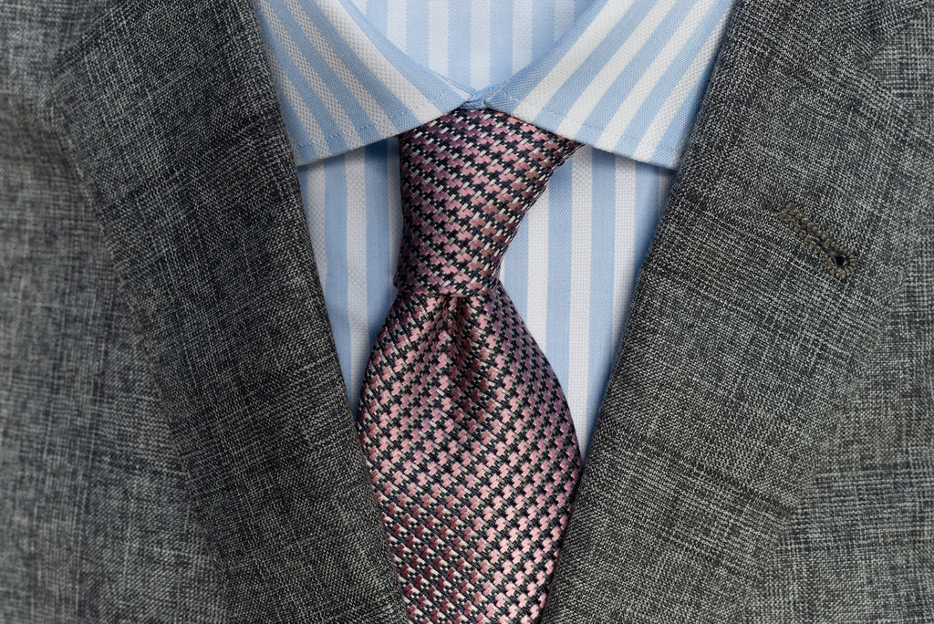 Proper tie/shirt colour and pattern combos - blue and white striped shirt, grey suit, mauve microprint tie