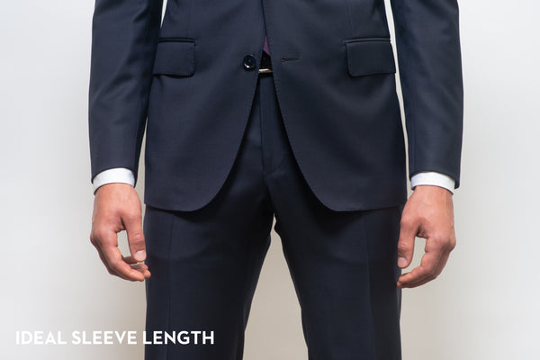 Proper sleeve length on a suit, showing the right amount of shirt cuff