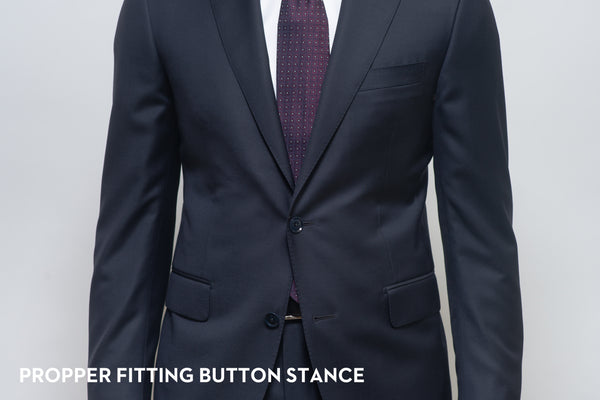 Proper button stance on a suit jacket that fits well showing button stance just above the belly button