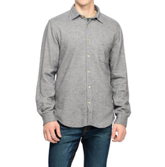 Portuguese Flannel grey shirt layered over olive shirt